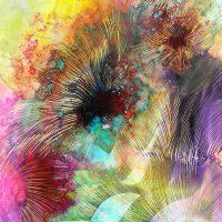 Intuitiv entstandene Farbflächen treffen auf gezielt eingesetzte Schraffuren. (Werk und Foto: Brigitte Waldschmidt)