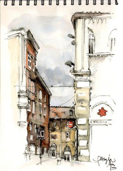 Gris Urban Sketching Straßenecke