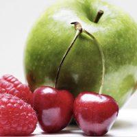 Stillleben Apfel, Kirschen, Himbeeren